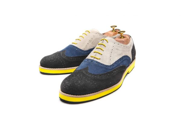 Handmade Mens Oxford Shoes In Gray And Blue Tones And Yellow Sole