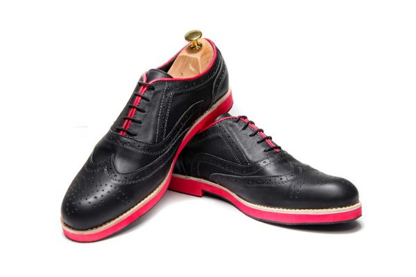 Handmade Mens Oxford Shoes In Black With Red Sole