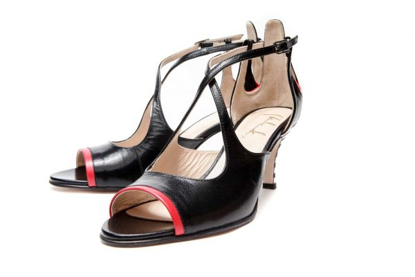 Black Handmade Womens Shoes Mid Heel Sandals with criss cross straps