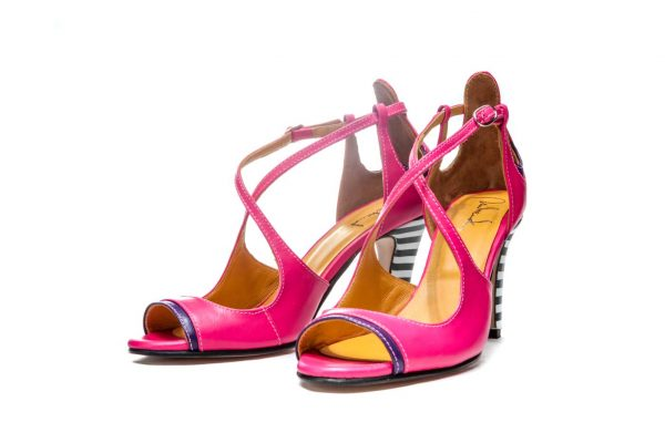 Pink Handmade Womens Shoes High Heel Sandals with criss cross straps