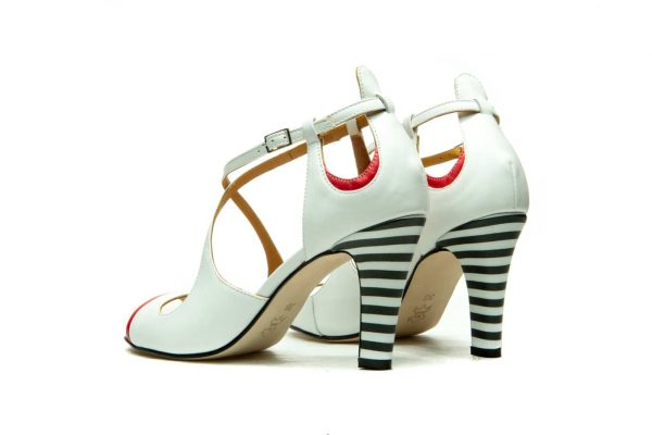 White Handmade Womens Shoes High Heel Sandals with criss cross straps