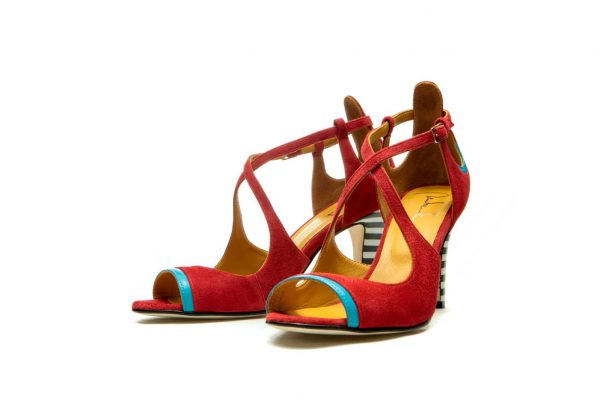 Red Handmade Womens Shoes High Heel Sandals with criss cross straps