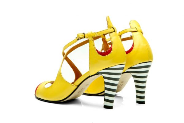 Yellow Handmade Womens Shoes High Heel Sandals with criss cross straps