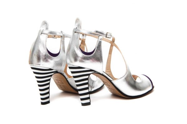 Silver Handmade Womens Shoes High Heel Sandals with criss cross straps