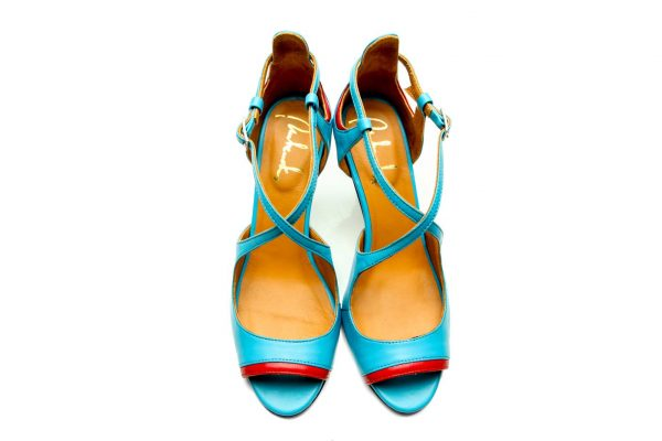 Turquoise Blue Handmade Womens Shoes High Heel Sandals with criss cross straps