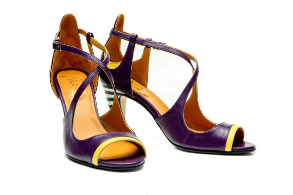 Purple Handmade Womens Shoes High Heel Sandals with criss cross straps