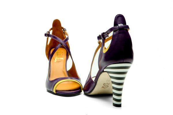 Purple Handmade Womens Shoes High Heel Sandals with criss cross strapsPurple Handmade Womens Shoes High Heel Sandals with criss cross straps