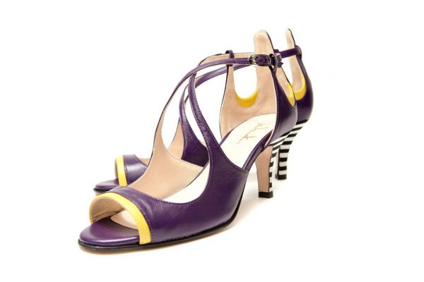 Purple Handmade Womens Shoes Mid Heel Sandals with criss cross straps