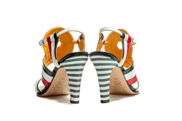Handmade Womens Shoes Striped High Heel Sandals In Red White And Black