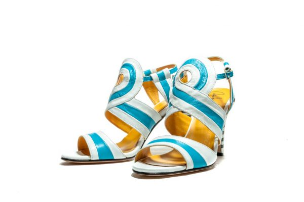 White And Blue Handmade Womens Shoes Striped High Heel Sandals