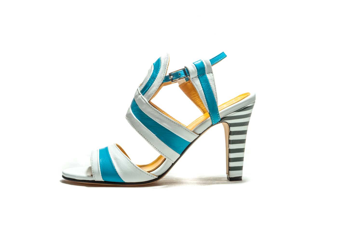 White and blue sandals heels   Handmade