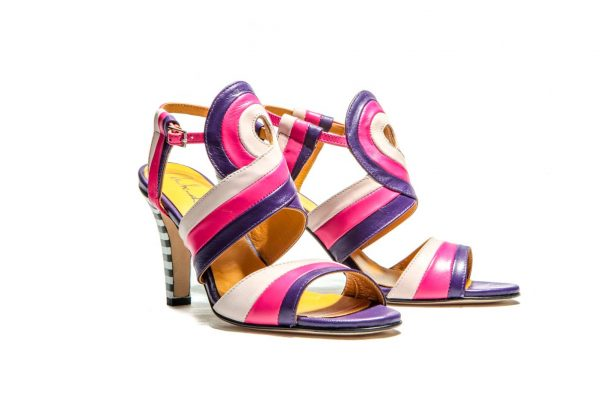 Handmade Womens Shoes Striped High Heel Sandals Colorblock In Purple And Pink Shades