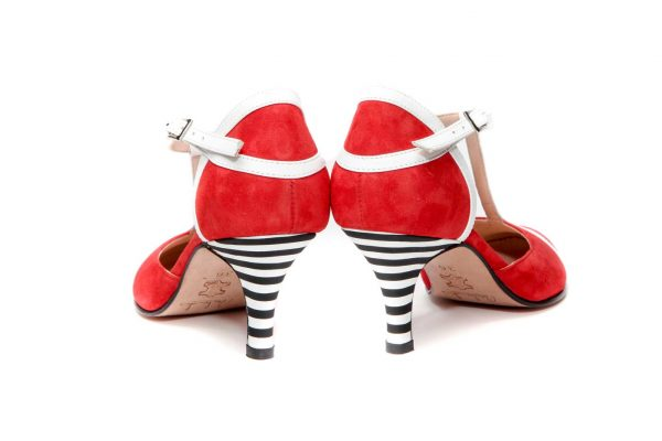 Handmade Womens Shoes Red Mid Heel Dorsay Pumps