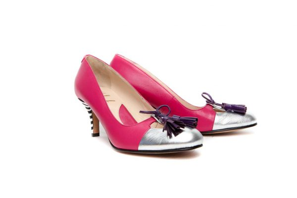 Handmade Womens Shoes Pink Mid Heel Pumps With Tassels