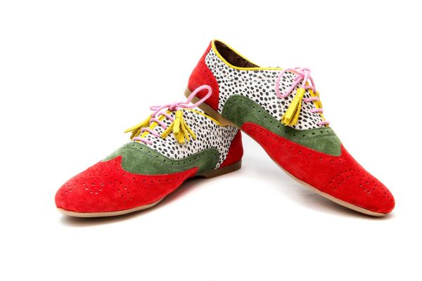 Womens Oxford Shoes Red And Green Ballet Flats