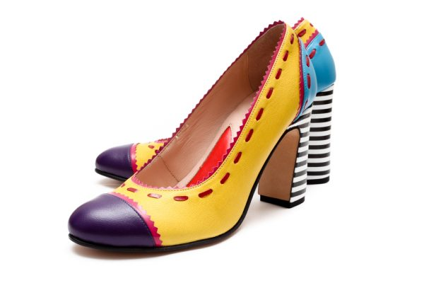 Yellow Handmade Womens Shoes Color Block Pumps With Striped Block Heels