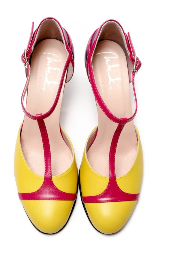 Handmade Color Block Womens Shoes In Yellow, Pink And Purple. Mid Heel Dorsay Pumps.