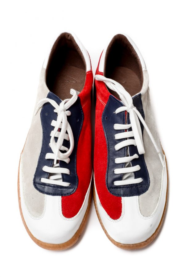 Mens Shoes Tie Up Retro Style Handball Sneakers In Beige And Red